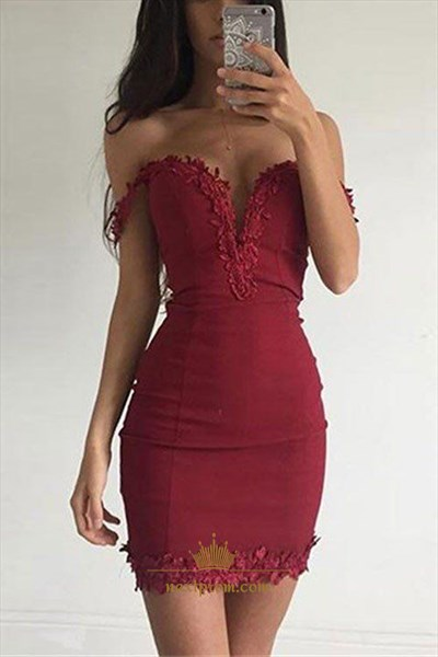 Burgundy Off The Shoulder Lace Embellished Short Sheath Cocktail Dress