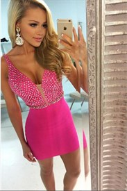 Cute Hot Pink Sleeveless V-Neck Beaded Bodice Short Sheath Party Dress