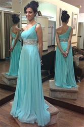 Elegant Ruched One Shoulder Beaded Waist Chiffon Long Evening Dress