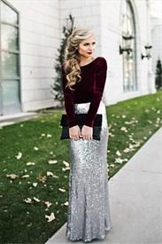 Elegant Long Sleeve Two Tone Sequin Skirt Floor Length Evening Dress