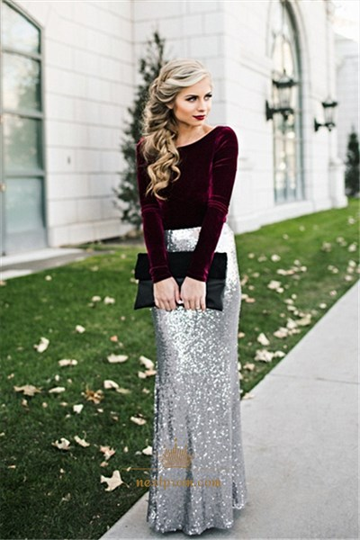 Elegant Long Sleeve Two Tone Sequin Skirt Floor Length Evening Dress