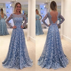 Light Blue Long Sleeve Open Back A Line Lace Floor Length Formal Dress