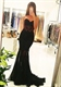 Black Strapless Sweetheart Lace Embellished Mermaid Long Prom Dress