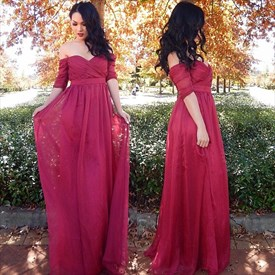 Burgundy Off The Shoulder Half Sleeve Empire Waist Chiffon Long Dress