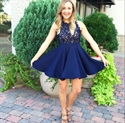 Lovely Navy Blue Sleeveless Lace Bodice Knee-Length Homecoming Dress