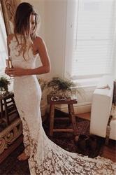 Elegant White Sleeveless Lace Overlay Mermaid Prom Dress With Train