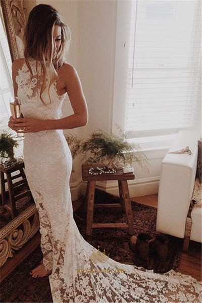 Elegant White Sleeveless Lace Overlay Mermaid Prom Dress With Train