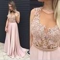 Light Pink Sleeveless Illusion Beaded Bodice Chiffon Long Prom Dress