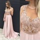 Light Pink Sleeveless Illusion Beaded Bodice Chiffon Long Prom Dress