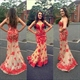 Strapless Sweetheart Neckline Red Lace Embellished Mermaid Prom Dress