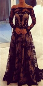 Black Off The Shoulder Long Sleeve Illusion Lace Overlay Formal Dress