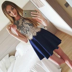 Lovely Navy Blue Sleeveless Short Homecoming Dress With Lace Bodice