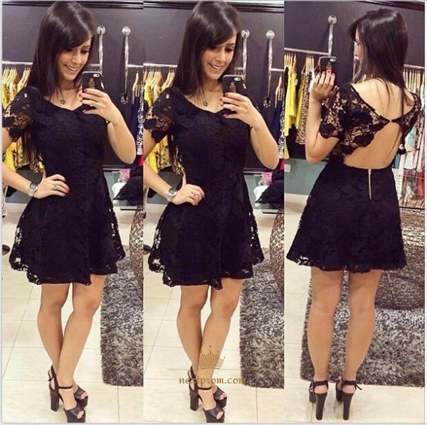 Lovely Black Short Sleeve Lace Homecoming Mini Dress With Open Back