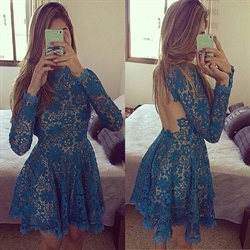 Long Sleeve High Neck Knee Length Homecoming Dress With Keyhole Back