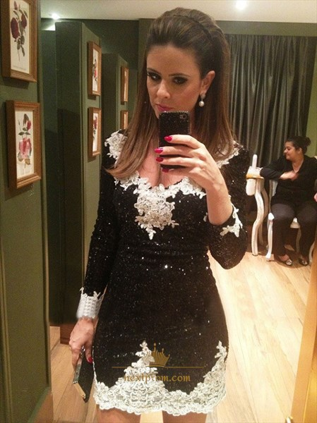 V Neck Long Sleeve Lace Embellished Sequin Short Sheath Party Dress