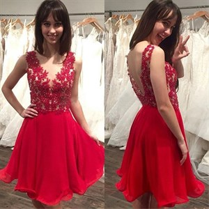 Red V-Neck Sleeveless Lace Top Chiffon Bottom Short Homecoming Dress