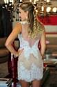 Vintage Sheer Back Sleeveless Lace Knee Length Sheath Cocktail Dress