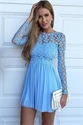 Illusion Lace Bodice Long Sleeve A-Line Chiffon Short Homecoming Dress