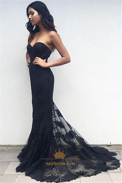 Black Strapless Sweetheart Lace Overlay Sheath Mermaid Formal Dress
