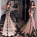 Sheer Long Sleeve Lace Embellished Chiffon Mermaid Dress With Train