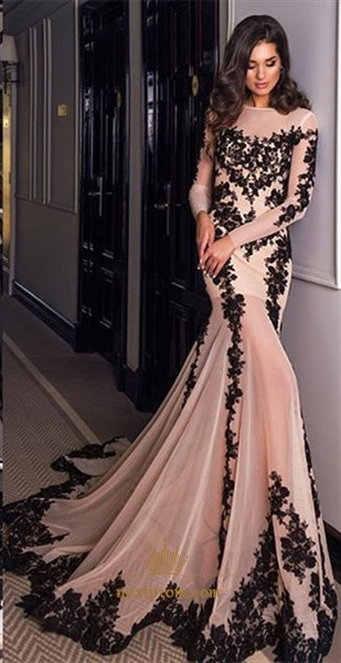 Sheer Long Sleeve Lace Embellished Chiffon Mermaid Dress With Train