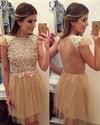 Champagne Beaded Embellished Sheer Back A-Line Short Homecoming Dress