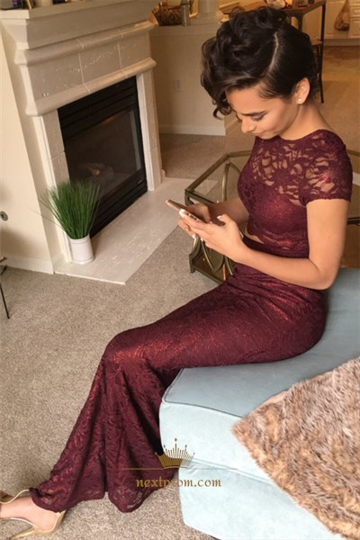 Burgundy Short Sleeve Two Piece Ankle Length Sheath Lace Prom Dress