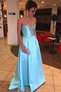 Simple Light Blue Strapless Beaded Neckline Floor Length Evening Dress