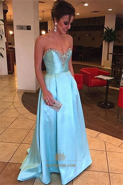 Simple Light Blue Strapless Beaded Neckline Floor Length Evening Dress