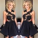 Black Sleeveless Lace Embellished Keyhole Back Short Homecoming Dress