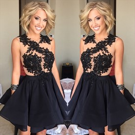 Black Sleeveless Lace Embellished Keyhole Back Short Homecoming Dress