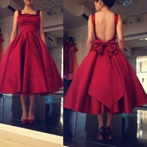 Cute Burgundy Sleeveless Backless Tea Length Homecoming Dress With Bow