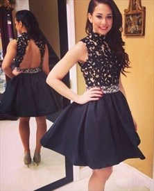 Lovely Black Sleeveless High Neck Keyhole Back Short Homecoming Dress