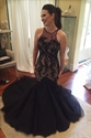Black Sleeveless Sheer Lace Bodice Tulle Mermaid Prom Dress With Train