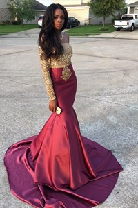 Off The Shoulder Long Sleeve Embellished Two Tone Mermaid Prom Dress