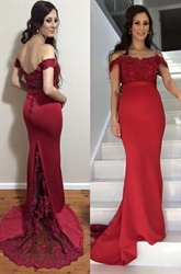 Elegant Red Off The Shoulder Lace Embellished Mermaid Evening Dress