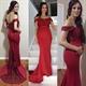 Elegant Red Off The Shoulder Lace Embellished Mermaid Evening Dress