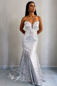 Sparkly Silver Strapless Beaded Embellished Sequin Mermaid Prom Dress