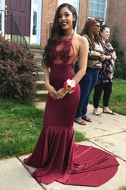 Burgundy Halter Backless Dropped Waist Mermaid Dress With Sheer Top