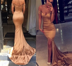 Simple Champagne Off The Shoulder Mermaid Prom Dress With Front Slit