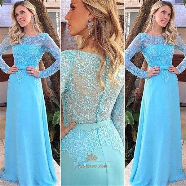 Baby Blue Lace Bodice Chiffon Floor Length Prom Dress With Long Sleeve