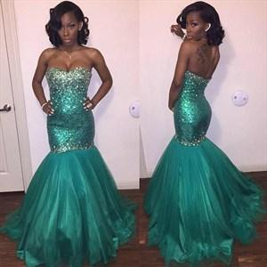 Strapless Beaded Bodice Dropped Waist Tulle Overlay Mermaid Prom Dress