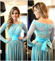 Aqua Blue Off The Shoulder Long Sleeve Lace Floor Length Prom Dress