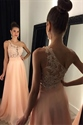 Light Pink One Shoulder Lace Bodice Chiffon Floor Length Evening Dress