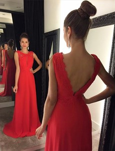 Red Sleeveless A Line Floor Length Chiffon Prom Dress With Open Back
