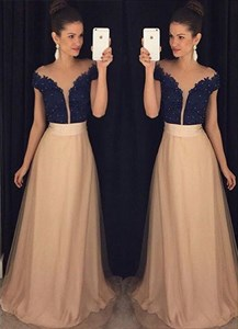 V Neck Short Sleeve Lace Bodice Chiffon Long Dress With Tulle Overlay