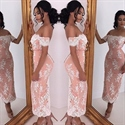 Off The Shoulder Lace Embellished Ankle Length Sheath Evening Dress