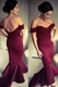 Simple Burgundy Off The Shoulder Dropped Waist Backless Mermaid Dress
