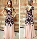 Floor Length Pink Lace Embellished Short-Sleeve Chiffon Evening Dress
