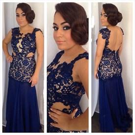 Navy Blue Cap Sleeve Lace Applique Bodice Backless Chiffon Prom Dress